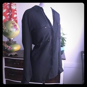 H&M black button up blouse size 20